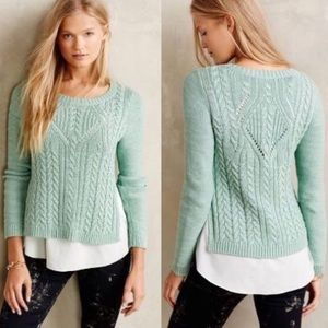 "Moth (Anthro) ""Ella"" Sage Cable Knit Sweater"